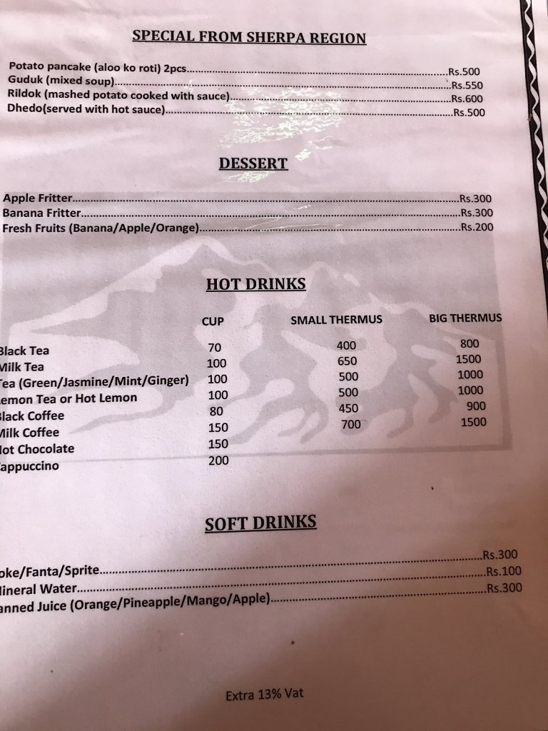 Menu in restaurant on track